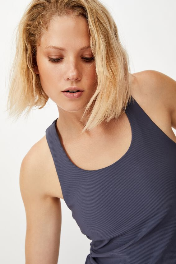 Active Fitted Tank Top, STORM BLUE RIB