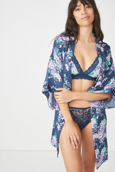 Kimono Gown, SUPER BLOOM/DARK STORM BLUE