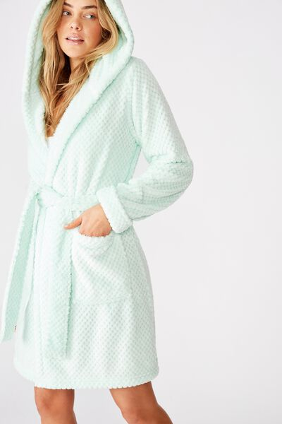 Hooded Luxe Plush Gown, FADED MINT MARLE TEXTURED