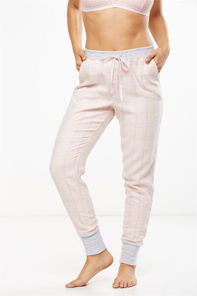 Cuffed Flannel Pant, SWEET PINK CHECK