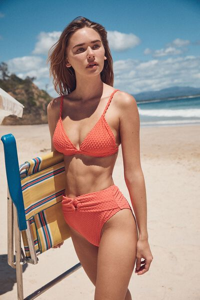 Fixed Triangle Bikini Top Terry, BURNT ORANGE TERRY SPOT
