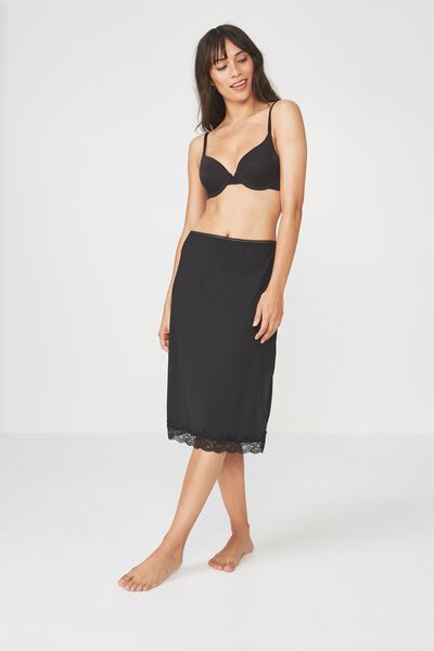 Slinky Slip Skirt, BLACK