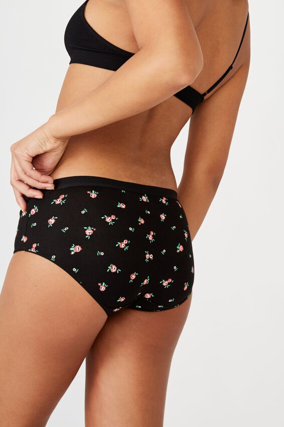 Cotton Rib Boyleg Brief, ROSE GARDEN DITSY BLACK