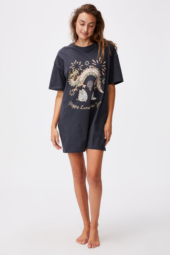 90 S Tshirt Nightie, LCN PUSH PUSHEEN LUNAR NEW YEAR MAGNET BLUE