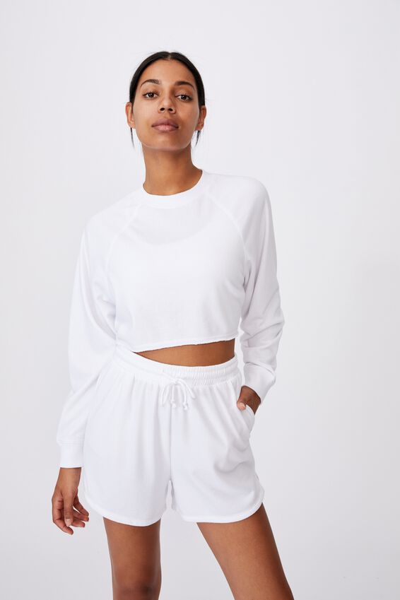 Lifestyle Crop Raglan Fleece, WHITE