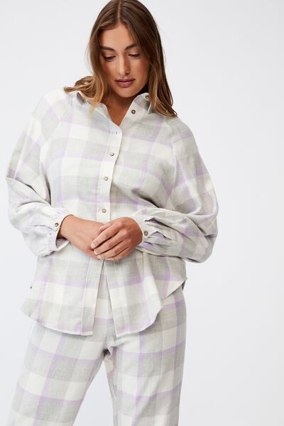 Warm Flannel Sleep Shirt, FIELD CHECK ORCHID