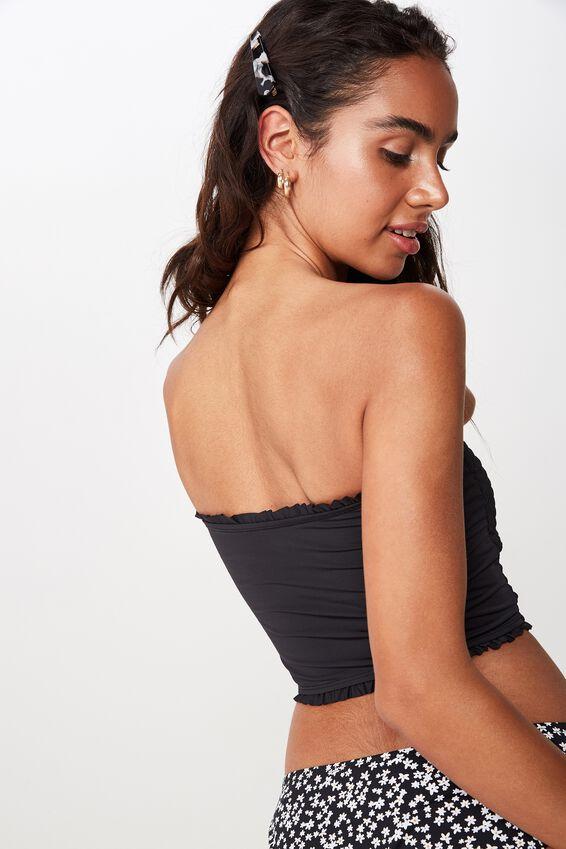 Shirred Longline Bandeau Bikini Top, BLACK