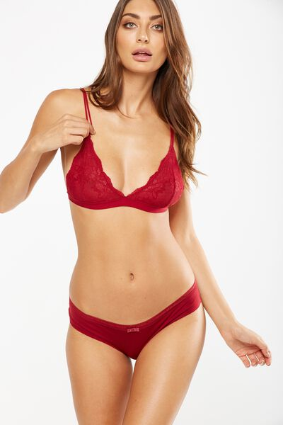 The Body V Lace Bralette, REDWOOD
