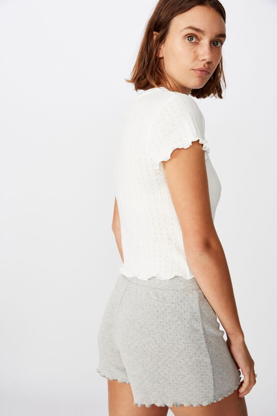 Pointelle Bed T Shirt, GARDENIA