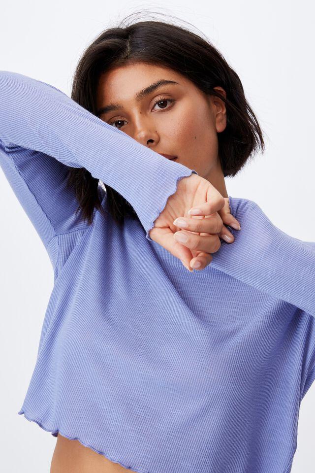 Raglan Long Sleeve Top, PERIWINKLE