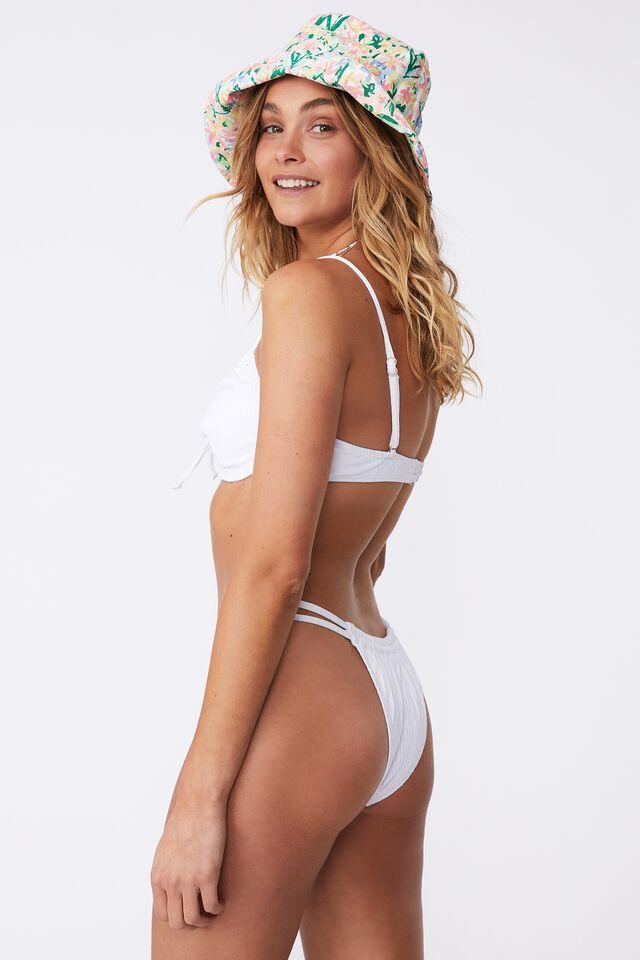 Half Wire Bra Bikini Top, WHITE POINTELLE