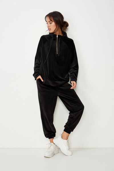 Luxe Cuffed Pant, BLACK
