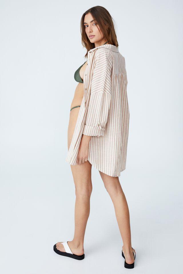 Swing Beach Shirt, SALTED CARAMEL/ SANDCASTLE STRIPE