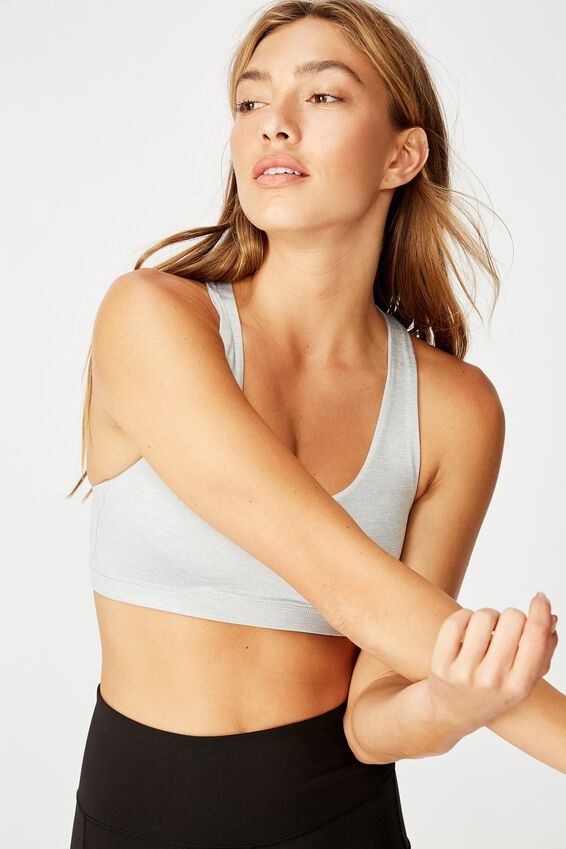 Strappy Sports Crop, GREY MARLE