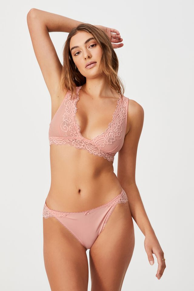 Ainsley Lace Unlined Plunge Bralette, CANDY FLOSS