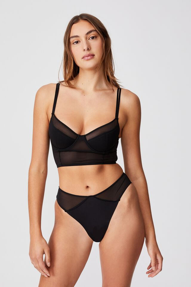 We Just Mesh Underwire Bustier With Cups, BLACK