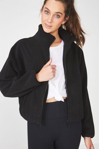 Batwing Polar Fleece Jacket, BLACK