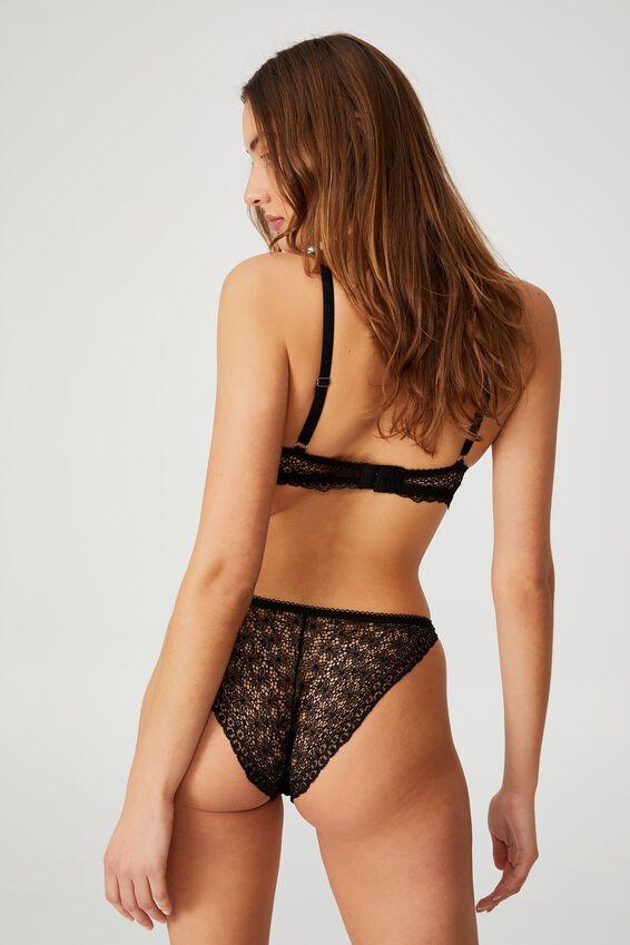 Fifi Lace Tanga Bikini Brief, BLACK