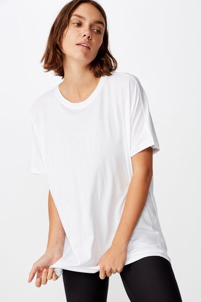 Longline Tie Back T Shirt, WHITE