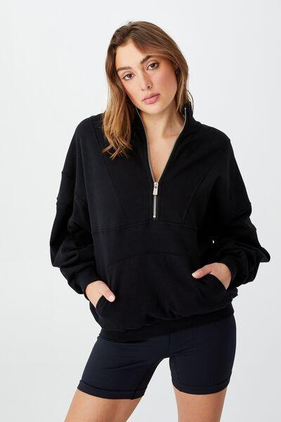 Lifestyle Half Zip Fleece Top, BLACK