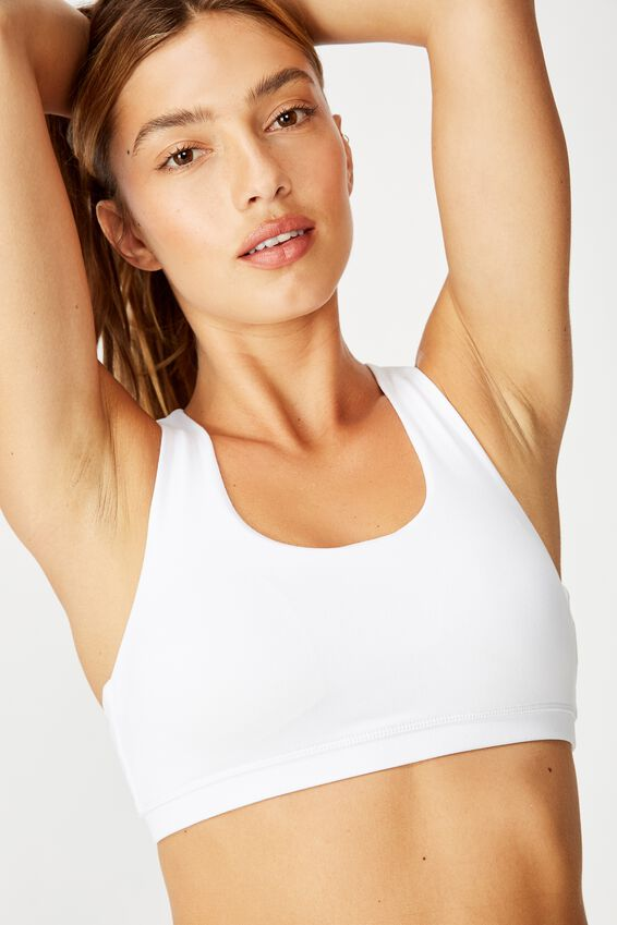 Strappy Sports Crop, WHITE
