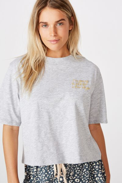 High Neck Boxy T-Shirt, GREY MARLE/ GOING TO BED