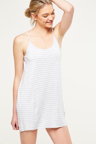 Sleep Recovery Nightie, GREY MARLE STRIPE