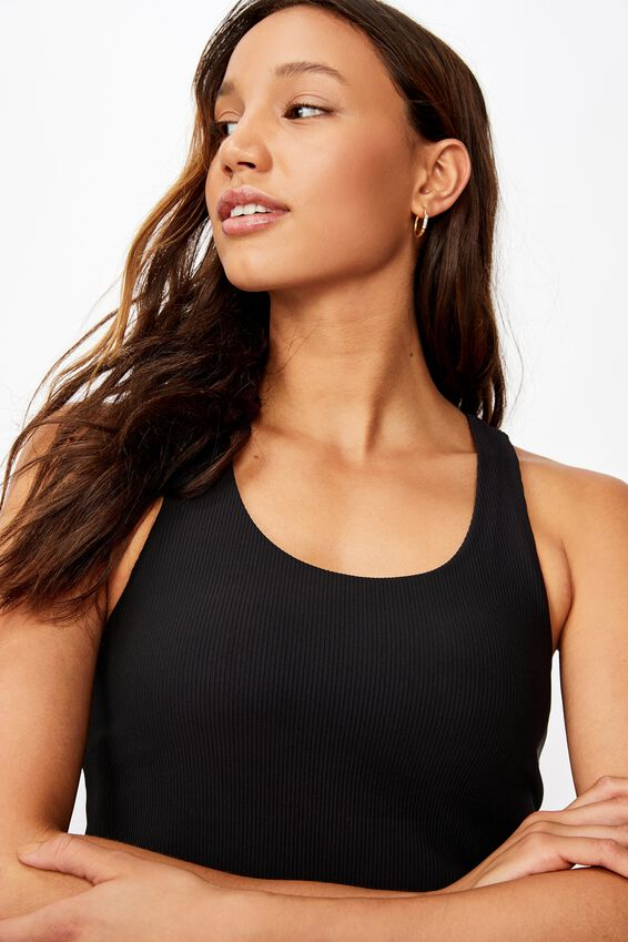 Active Fitted Tank Top, BLACK RIB