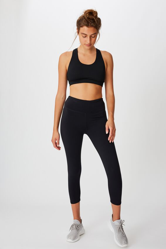 Workout Cut Out Crop, BLACK