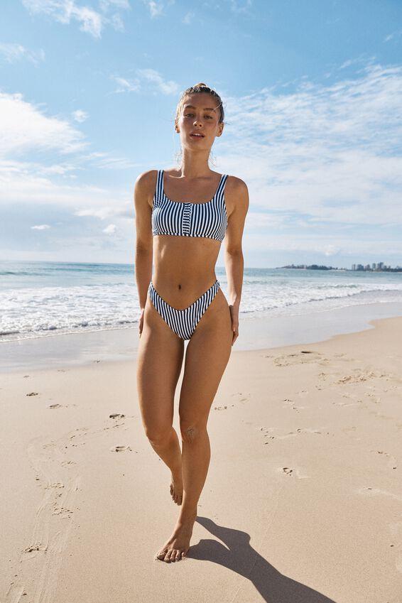 Henley Scoop Crop Bikini Top, BLUE STRIPE