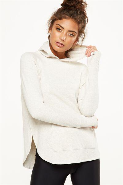 Long Sleeve Chia Hood Top, OATMEAL