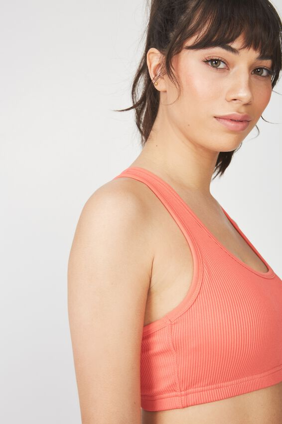 Workout Cardio Crop, HOT CORAL RIB