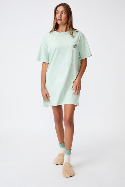 Organic Cotton 90S T-Shirt Nightie, FLORAL CHILD/WASHED MINT CHIP