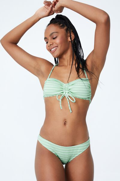 Full Bikini Bottom, MINT CHIP STRIPE CRINKLE
