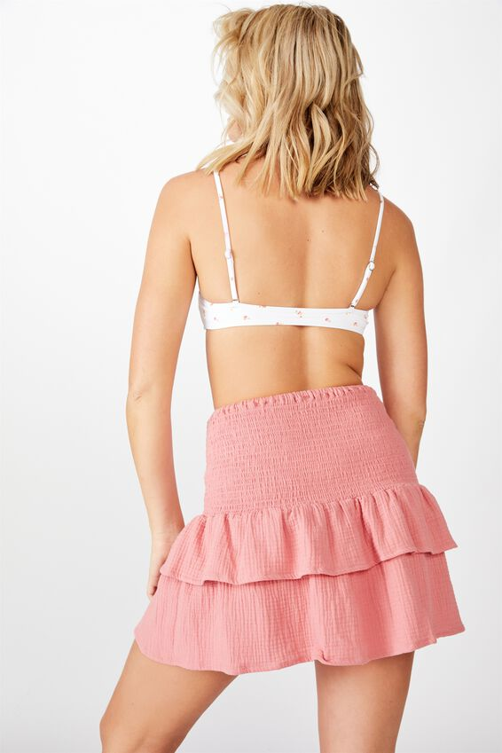 Shirred Tiered Beach Skirt, ROSE SMOKE