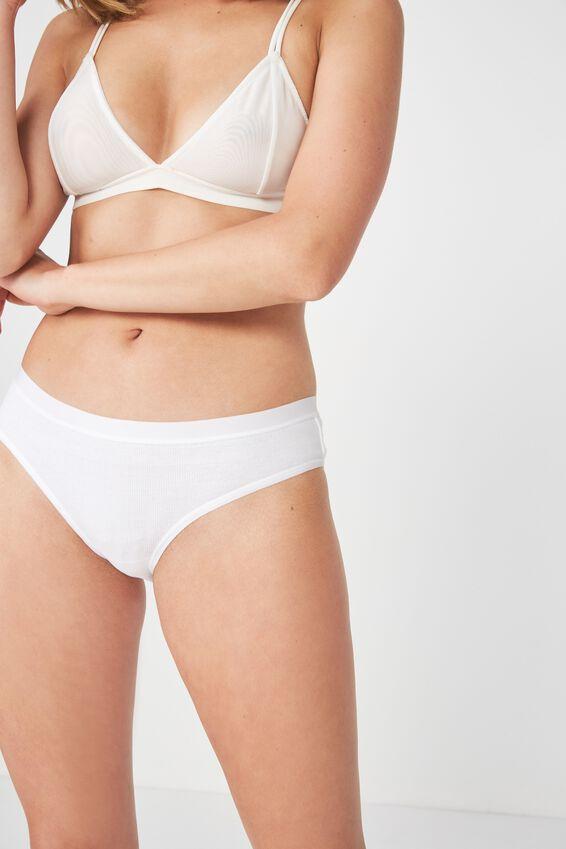 Cotton Rib Cheeky Bikini Brief, WHITE