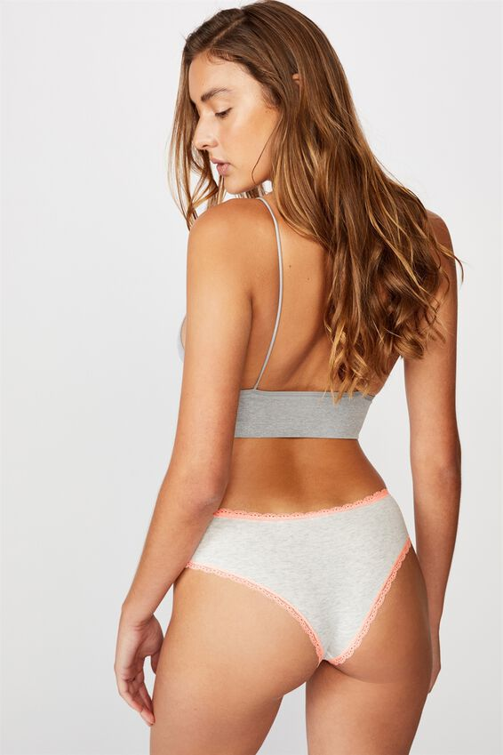 Charlotte Lace Trim Brasiliano Brief, WHITE MARLE