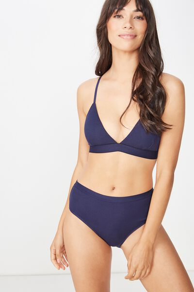 Cotton Rib Bralette, MIDNIGHT