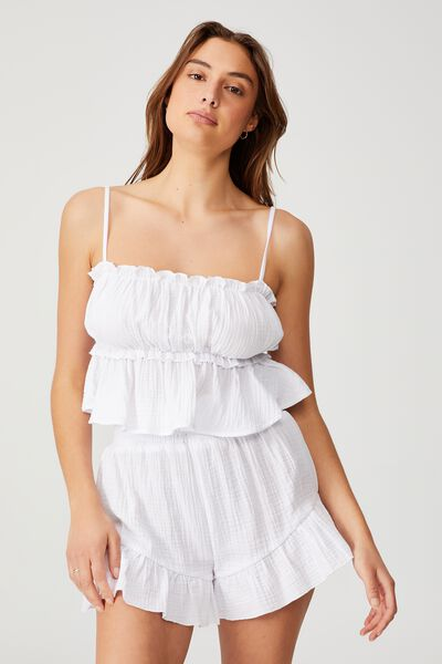 Pre Party Cami And Short Set, WHITE