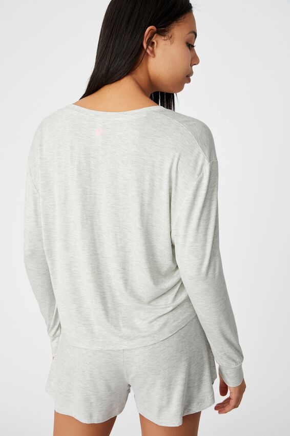 Sleep Recovery Crop Long Sleeve, SOFT GREY MARLE