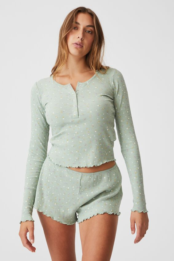 Pretty Little Sleep Henley, SPRIGGY PETITE DITZY WASHED MINT