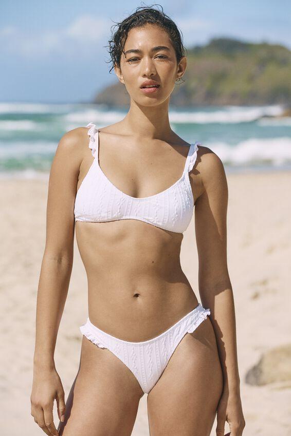U Crop Bralette Bikini Top, WHITE BROIDERE
