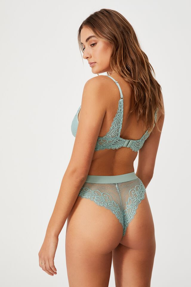Ainsley Lace High Cut Brasiliano Brief, SMOKED GREEN