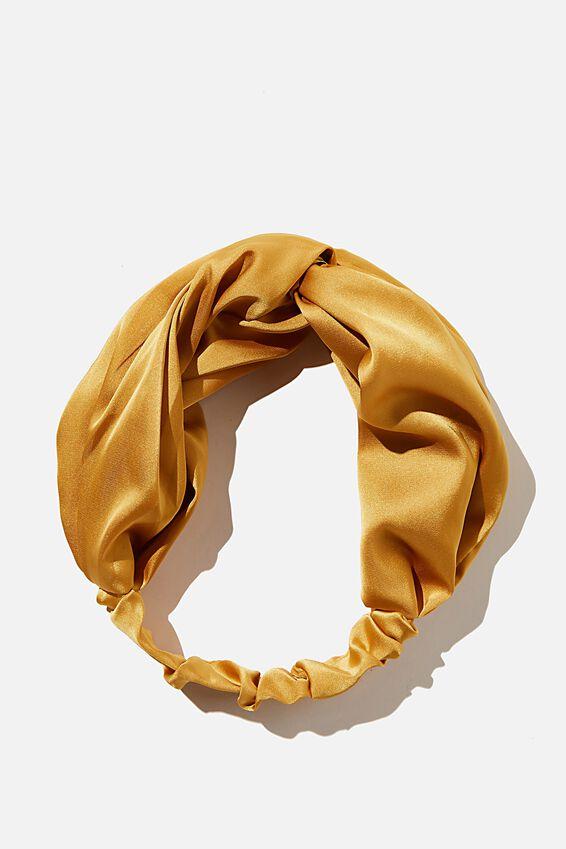Satin Knot Headband, RETRO YELLOW