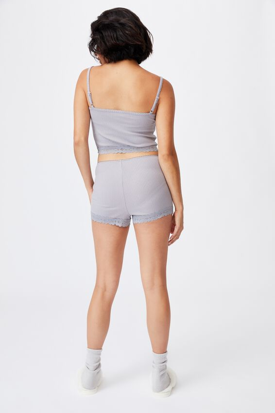 Rib Lace Sleep Short, QUAIL