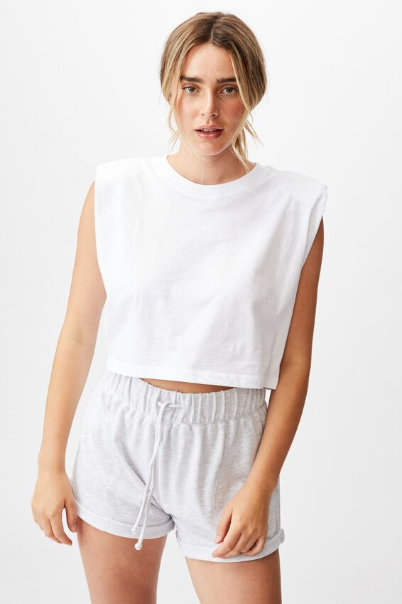 Padded Shoulder Crop Tank, WHITE