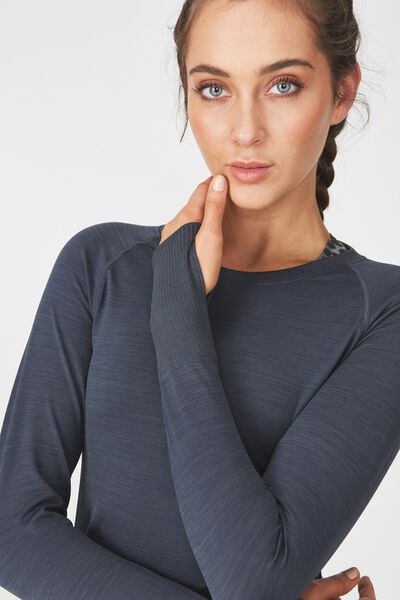 Long Sleeve Seamfree Top, SHIMMER CHARCOAL
