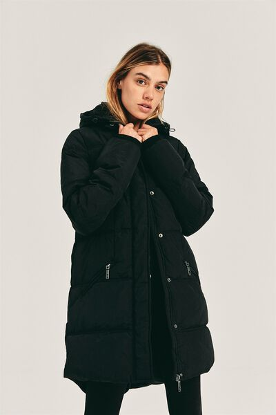 The Mother Mid Length Puffer Jacket, BLACK