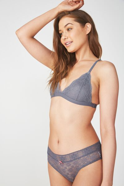 The Body V Lace Bralette, SLATE GREY