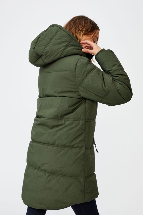 The Mother Mid Length Puffer Jacket, KHAKI